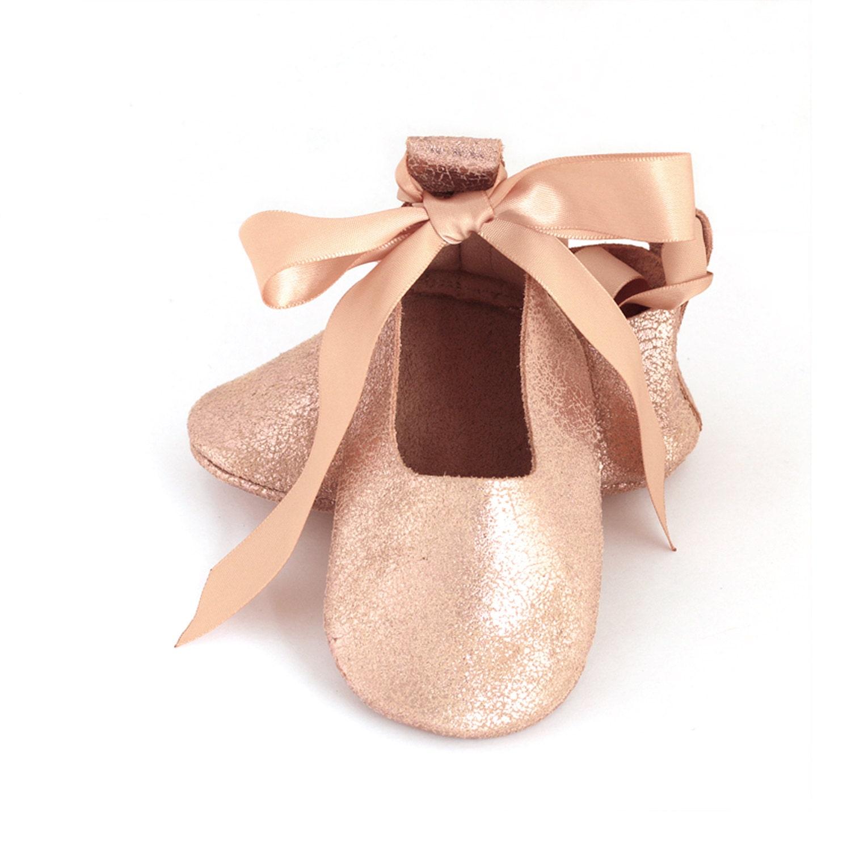 Flower girl shoes rose gold ballet flats rose gold baby