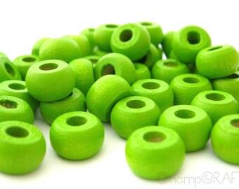 Wood Beads, Lime Green Wood Crow Pony Beads, Hemp Macrame Beads 6x10mm - 50pc