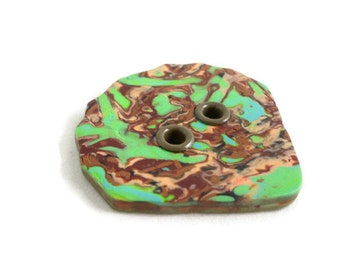 Large sewing button with grommets green and brown
