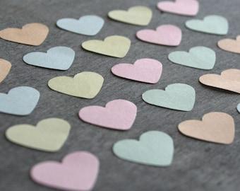 150 small paper HEARTs, Pastel heart, Die cut Heart, die cut paper hearts, table confetti, small heart, wedding confetti, pastel scrapbook