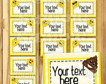 Emoticon tent cards Name cards Table place cards Table decorations Smiley face food tent cards Birthday Table Label Icon decor 12 PRECUT