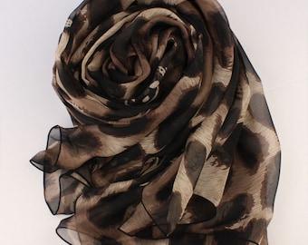 Animal Print Silk scarf - Brown Silk Chiffon Scarf with Large Leopard Print - Leopard Print Silk Scarf - AS40