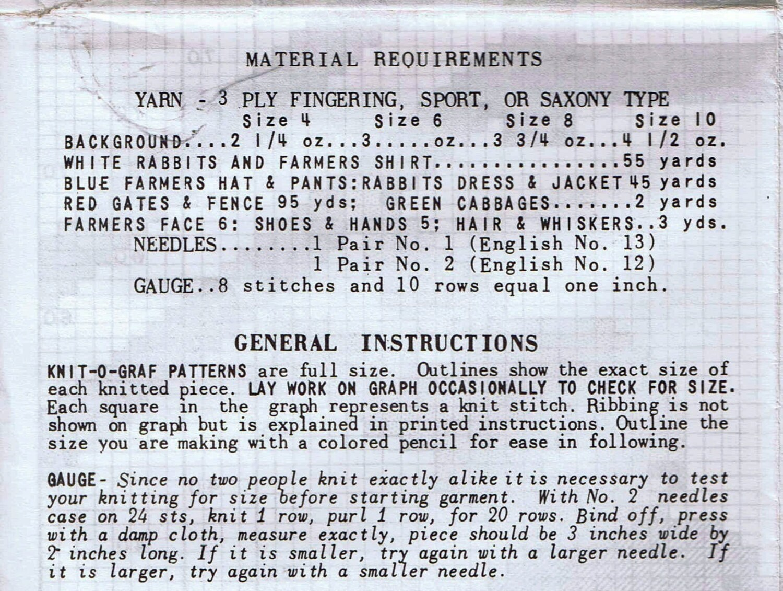 1950s Knit O Graf PATTERN 945 Farmer Rabbits for Cardigan Sweater ...