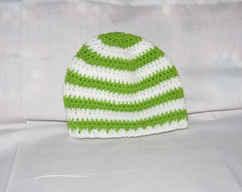 C91  Age 1 to 3 Years,  Hand Made, Crocheted Beanie, Baby Hat, Green and White Striped Crocheted Baby Beanie