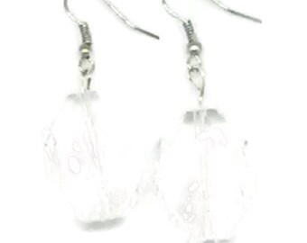 Clear Faceted Flat Octagon Beaded Earrings