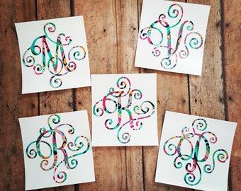 Single Letter Monogram Decal, Elegant Scroll Monogram, Lilly Pulitzer Inspired Monogram, Monogram Decal, Laptop Monogram Decal, Yeti Decal