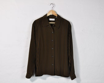Silk Striped Shirt, Vintage 90s Blouse, Simple Striped Blouse, Minimal Striped Oxford, Oversized Blouse, Long Sleeve Button Up Shirt