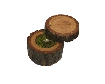 Hickory Moose Ring Box - Solid Hickory - Rotating Lid