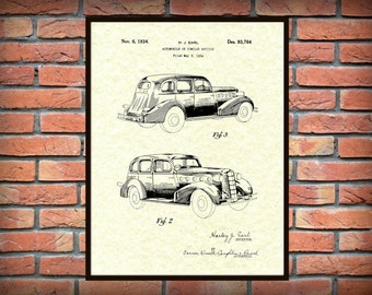 Patent 1934 LaSalle Auto Patent -  Art Print - Poster - General Motors Automobile Patent - 1930s Gangster Type Car - Cadillac Sister Car