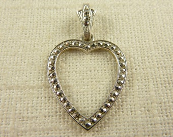 Vintage Rhodium Plated Sterling and Marcasite Heart Pendant