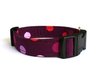 Purple dog collar - Purple dots pet collar - Violet pet collar - Aubergine dog collar - Pink dots pet collar - My Purple dog collar