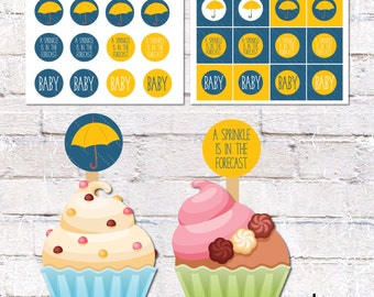 Cupcake Toppers and Cake Bunting for Sprinkle Theme Baby Shower. Rain Cupcake and Cake Decor - Blue. Printable / DIY.  *DIGITAL DOWNLOAD*