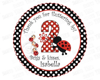 "Custom Lady Bug Birthday 2.5"" Printable Tags- Ladybugs Polka dots Scallop Tag- DIY Thank you tags-Digital File"
