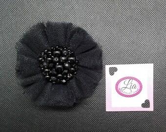 Black pearl tulle brooch