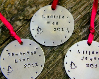 Holiday Ornament, Custom Childrens Gifts Christmas - THREE total, Holiday Decorations Christmas, Gift Co-Workers Family Friends,