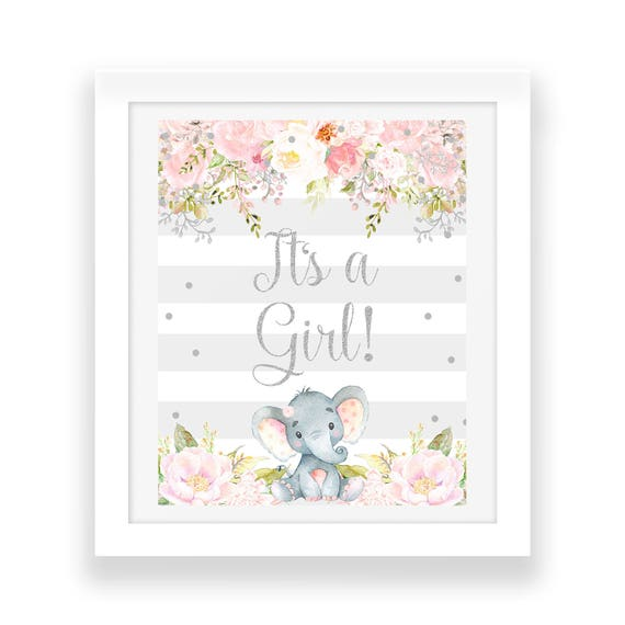 Pink And Gray Elephant Baby Shower Decorations: Pink And Gray Its A Girl Baby Shower Decor Elephant Party