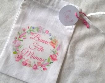 Mini sac tissu Fête des mères couronne de fleurs, Inscription personnalisable, 15 x 9,5 cm
