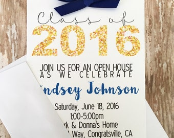 12 gold graduation party invitations, printed gold and navy graduation invites, gold glitter graduation invite