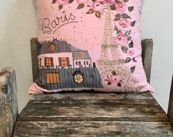 Baby Pink Hand-painted Paris Pillow, Painted Pillow case, Baby Pink Pillow, Classic French Decor, Parisian Pillow, Nursery Pillow,22x22,pink