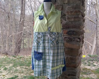 Upcyled Light Yellow Sleeveless Chico Size 2 Women's size XL with blue green plaid and denim refashioned repurposed long boho tunic dress