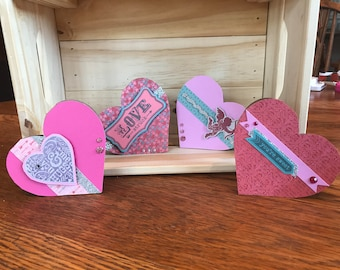 Set of four Valentine's Day heart cards