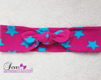 Blue stars on Pink Custom Knot Headband