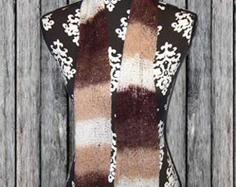 Knit Mesh Yarn Scarf, Muffler, Fashion Neck Scarf, Textured Bufanda, Shades of Brown