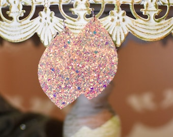 Pink chunky glitter leather earrings- FREE SHIPPING!