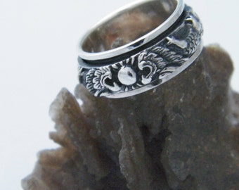 Handcrafted Art Massive 925 Sterling Silver With Two Dragons Design Spinner Ring-Custom Size