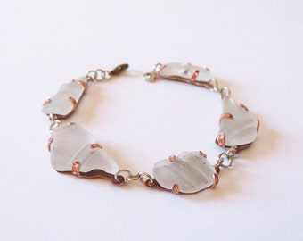 Copper and Sea Glass Bracelet