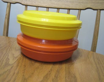 Two Vintage Stacking Serving Bowls With Lids 1970,s