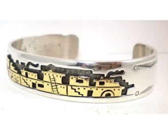 Native American, Vintage 14K, Sterling Silver Hopi NAVAJO Pueblo Bracelet