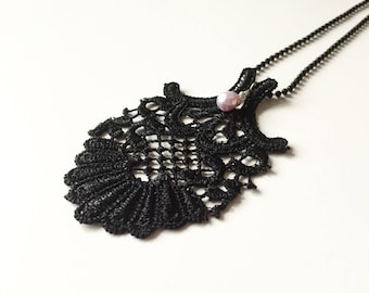 Black Lace Pendant with Fresh Water Pearl Droplet.    Venice lace, pink fresh water pearl droplet, necklace