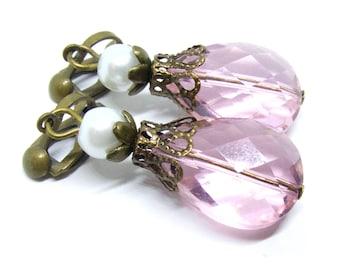 Light Pink Glass Drops Antique Brass Clip-On Earrings