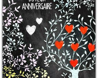 Happy birthday the tree of hearts 15 x 15 cm greeting card