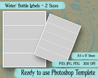 Water Bottle Labels - Digital Layered Collage Sheet Template:  2 Sizes