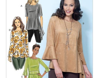 Butterick Pattern B6489 Misses' Pullover Tops with Sleeve and Peplum Variations
