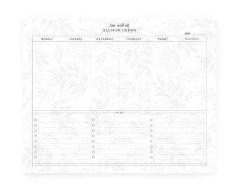 Personalized Planner Notepad : Custom Weekly To Do Calendar Notepad | Botanical Personalized Weekly Planner