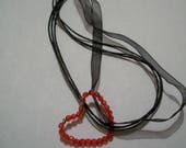 Cord handmade red heart p...
