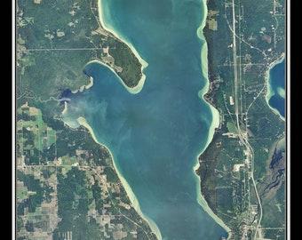 Burt Lake Michigan Satellite Poster Map