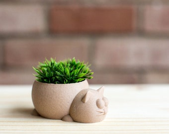 3D Printed Wood Texture Sleepy Cat Planter / Home Decor / Container/ Best Gift/ Valentine's Day/ Father's Day/ Wedding