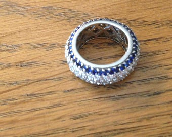 Sterling Silver Blue and White CZ Band