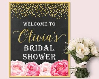 Chalkboard Bridal Shower Welcome Sign, Gold Glitter Blush Pink Floral Welcome Sign