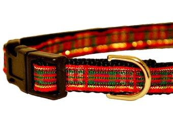 "Plaid Red Green Christmas Dog Collar, Cat Collar, Plaid Christmas Dog Collar, Holiday Dog Collar, 1/2"" thick collar breakaway collar"
