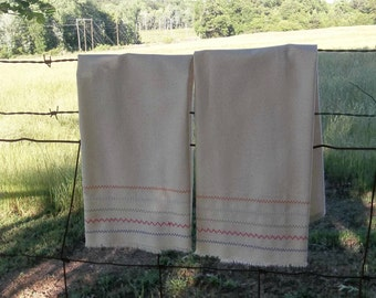 Pair Farmhouse Kitchen Towels Natural Cotton Tea Towels Boho Kitchen Towels 2 Decorative Towels French Country Set of 2