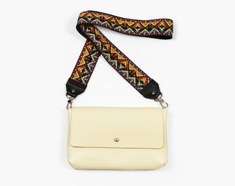"Minimalist Bag, Small Crossbody ""Zelda Sunny"", Light Yellow Leather Crossbody, Leather Crossbody Purse"