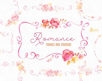 Romance. Frames and Dividers, watercolor clipart, pink, yellow, bridal, flowers, wedding invitation, greetings, floral, spring, romantic