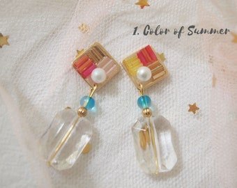 Perfume bottle style with pressed flower earrings / UV resin / Pressed flower / Dried flower / Violet Daffodils
