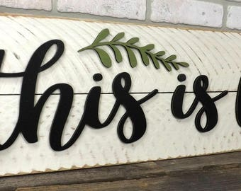 This is Us Sign | Farmhouse wall Decor | fixer upper style | shiplap sign | rustic wood home decor | wedding gift | gallery wall | wood sign