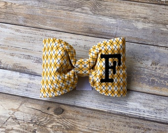 Monogram Dog Bow Tie Argyle Yellow & White || Personalized Preppy Bowtie || Custom Gift by Three Spoiled Dogs